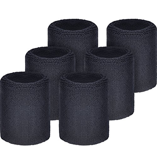 WILLBOND Sweatbands Wristbands for Football Basketball, Running Athletic Sports, Black, 6 Piece -