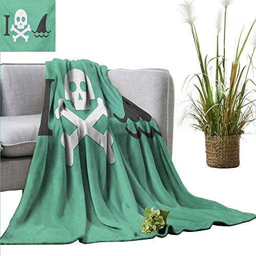 AndyTours Camping Blanket,Shark,Shark Love Themed Creepy Dead Skull Head with Cross Bones and Sharks Fun Danger Icon,Green White,Flannel Blankets Made with Plush Microfiber 60
