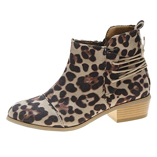 Morecome Women Ankle Short Booties Leopard Print Suede Fashi