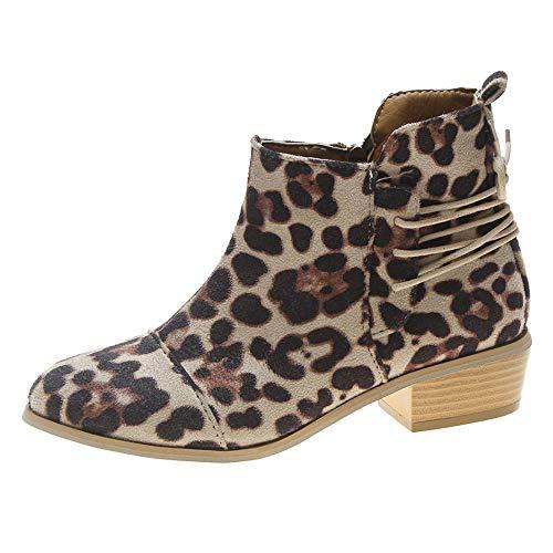(Women Ankle Short Booties Leopard Print Suede Martin Boots Shoes Zipper Boots)