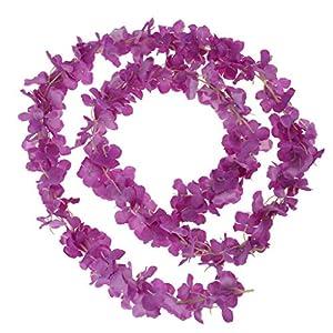 BROSCO Artificial Silk Wisteria Hanging Hydrangea Flower Garland Vine for Wedding | Color - Purple 86