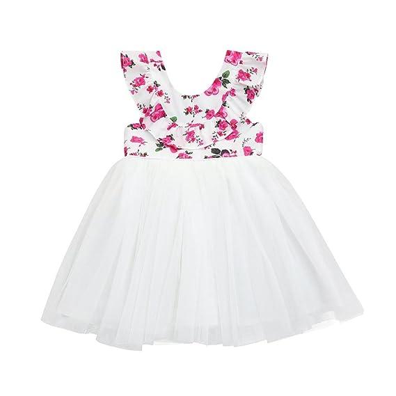 DRESS_start Vestido Para Bebé NiñA Vestido Floral Sin Respaldo Bebé NiñA Sin Mangas Vestido Con Encaje Vestido De Tul Del Tutú Princesa Vestidos Bebé NiñA ...