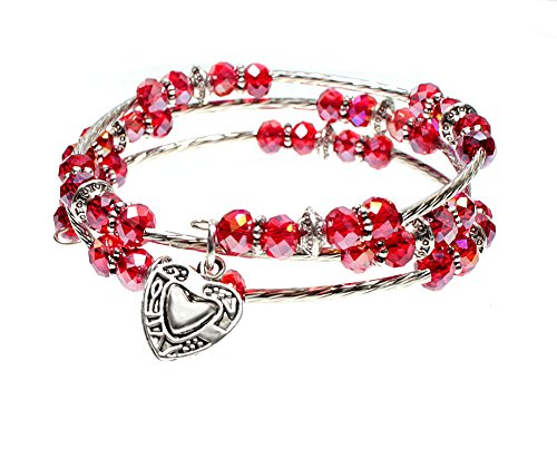 Sparkling Red Faceted Glass Bead Triple Wrap Silvertone Bangle Bracelet with Heart Charm (Faceted Glass Bead Bracelet)