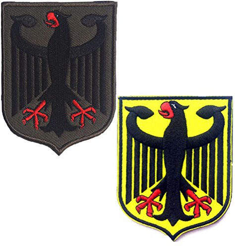 - QTao UPA200 Hook & Loop Velcro Germany Eagle German Flag Deutschland Country Tactical Morale Patch Embroidered Appliques 2pcs (Color -c)
