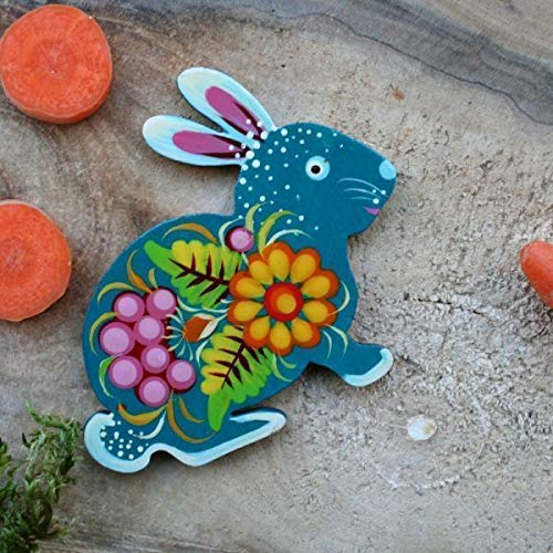 Magnet Osterhase hanbemalt mit Blumenmuster|Sch/öne Osterhasen lustige Magnete Tiere aus Holz
