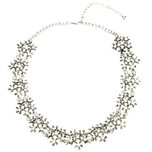 HONEYJOY Vintage Flowers Cluster Strand Crystal Collar Pendant Necklace For Women (Silver)