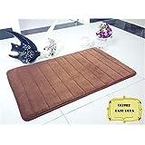 HUAHOO 40x60cm Non-slip Home Door Mat / Bath Rugs / Small Carpet (Coffee) Memory foam + Coral velvet