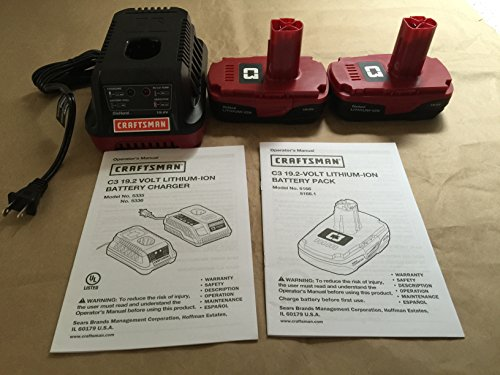 2 Craftsman 19.2 Volt Lithium Ion Batteries & 1 Charger by Craftsman