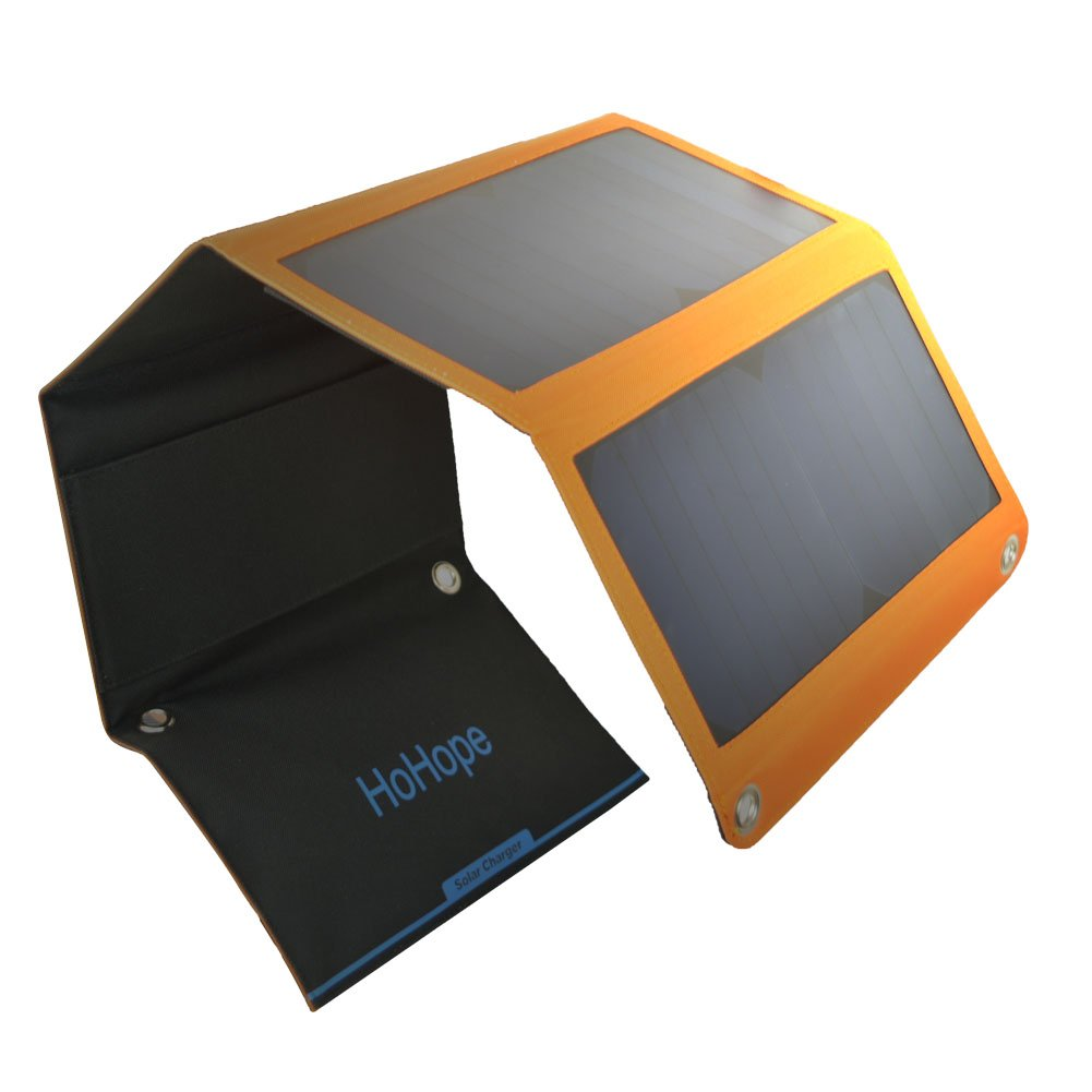 HoHope Solar Charger 21W 5V USB-Port and DC-18V High Efficiency Solar Panel for Smartphones iPhone, iPad, GalaxyS6 Edge Tablets and More S-1