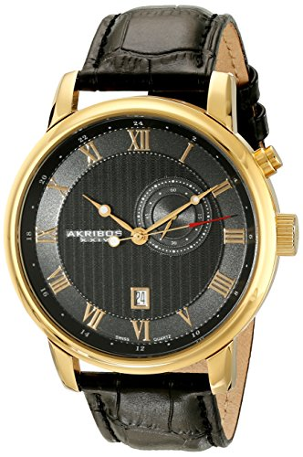 Akribos XXIV Men's AK595YG Swiss Leather Strap Date Watch