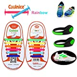 Coolnice® No Tie Shoelaces for Kids 12pcs with LED Shoe Clip Lights- Environmentally Safe Waterproof Silicon- Rainbow Shoelaces with Green Lights