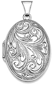 IceCarats 925 Sterling Silver Rhodium Plated Scroll Oval Locket Necklace That Holds Pictures