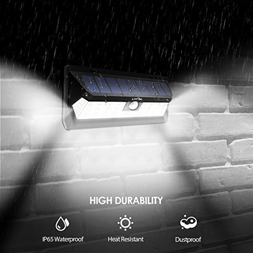 LITOM Upgraded 66 LED Solar Lights Outdoor, IP66 Waterproof Wireless Solar Motion Sensor Lights(White Light), 270°Wide Angle, Easy-to-Install Security Lights for Front Door, Yard, Garage, Deck-5 Pack