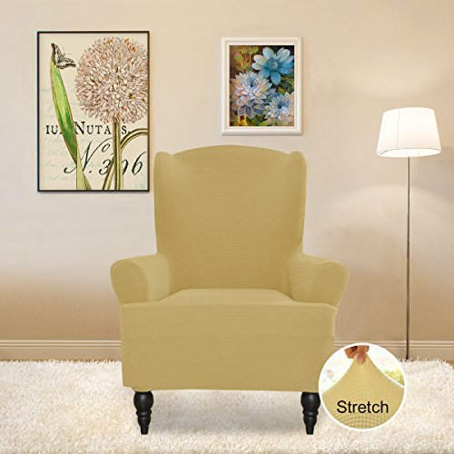 Easy-Going Stretch Slipcovers, Sofa Covers, Furniture Protector with Elastic Bottom, Anti-Slip Foams, 1 Piece Couch Shield, Polyester Spandex Jacquard Fabric Small Checks by (Wing chair, Beige) (Shield Chair)