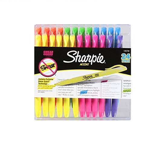 Doaaler(TM) Sharpie Accent Highlighters Assorted Colors 24 Pack - Brand New Item