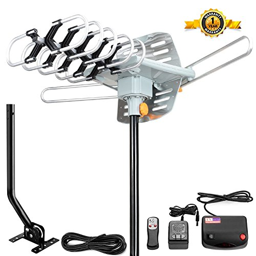 Outdoor HDTV Antenna, Ailuki Digital TV Antenna 150 Miles Range 360°Rotation 2 TV Support UHF/VHF Signal with 38FT Coax Cable and Wireless Infrared Remote controller with Mounting Pole
