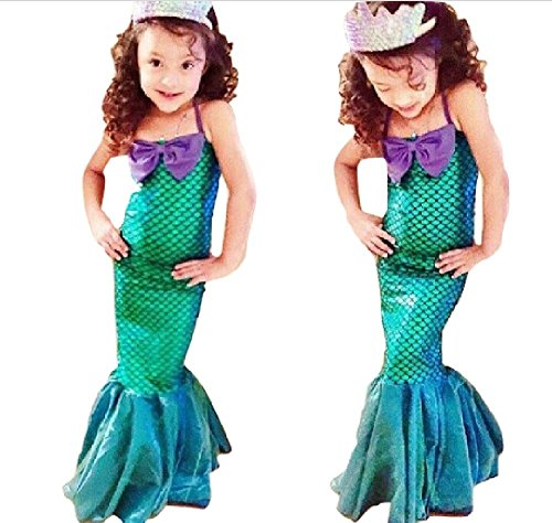 Asda Halloween Wigs (Little Trumpet Style Mermaid Costume Dress from Chunks of Charm (5) Green,)