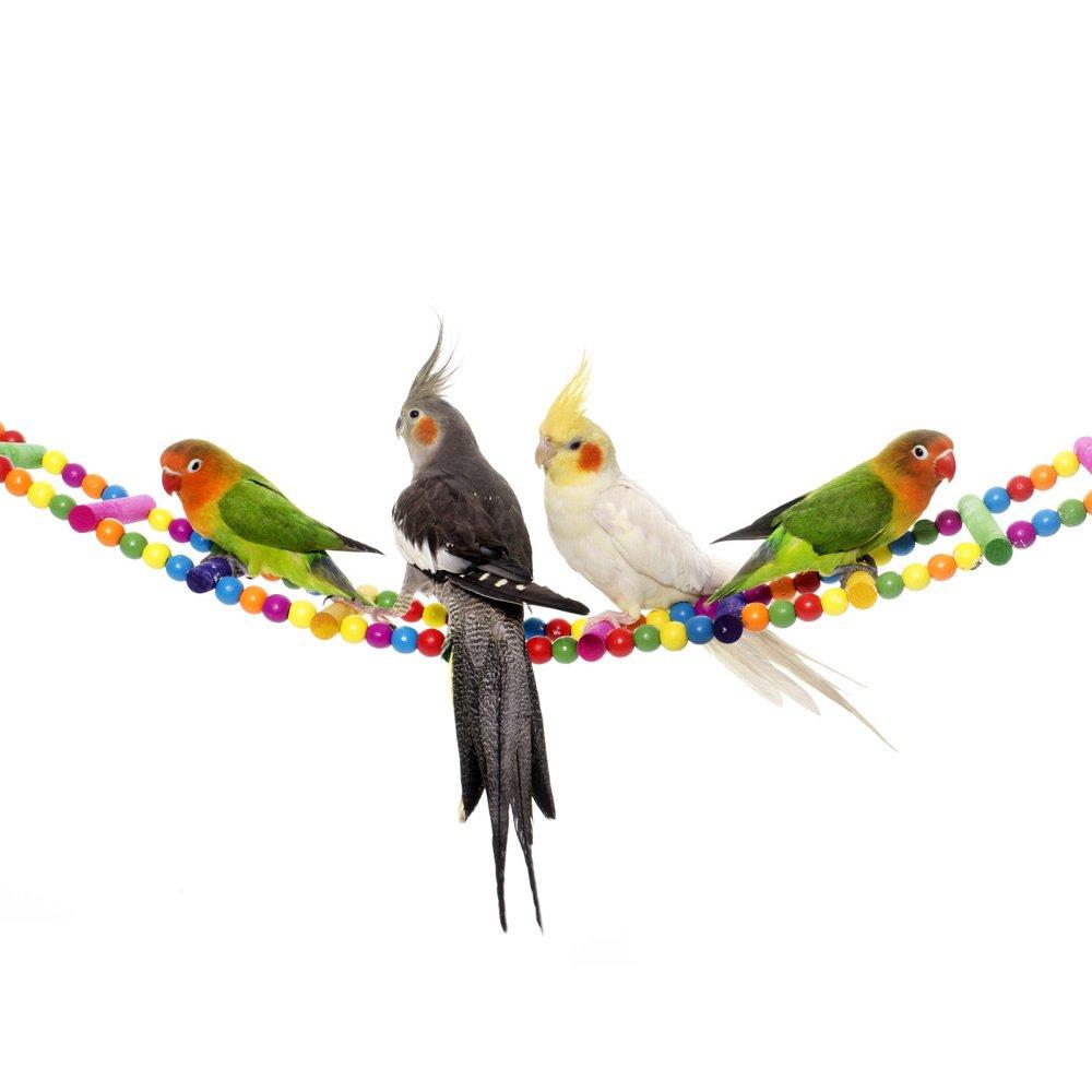 Mrli Pet Ladder Bird Toys for Bird Parrot Macaw African Greys Budgies Cockatiels Parakeet Hamster Rat Crawling Rainbow Bridge Wooden Cage Funny Perch Trainning Swing Toys