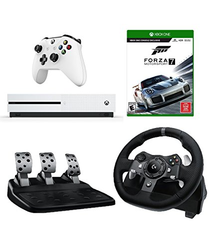 Logitech G920 Driving Force Racing Wheel (For Xbox One and PC) Starter Bundle: Microsoft Xbox One S 500 GB Console and Forza Motorsport 7