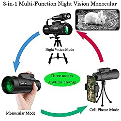 Aliynet Infrared Night Vision Monocular with WiFi Wireless Connect with Smartphone Application,HD Night Vision Telescope with Big Tripod&Phone Adapter for Outdoor Trip,Camping Night Watching