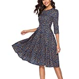 Women's A-Line Mini Skirts Three Quarter Sleeve Floral Vintage Dress Elegant Evening Party Short Dress (M, Navy)