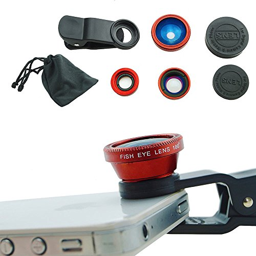 (Case Safety 1 x 3in1 Lens Photo Clip Kit Set for Mobile Phone Tablet PC , Red)
