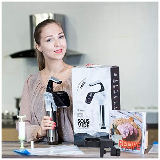 Sous Vide Cooker Immersion Circulator Stainless Steel Smart Digital Display Kitchen Food Machine Accessories Set with Rack 5 Vacuum Storage Bags Recipe Cookbook 850 Watts SLAIYA