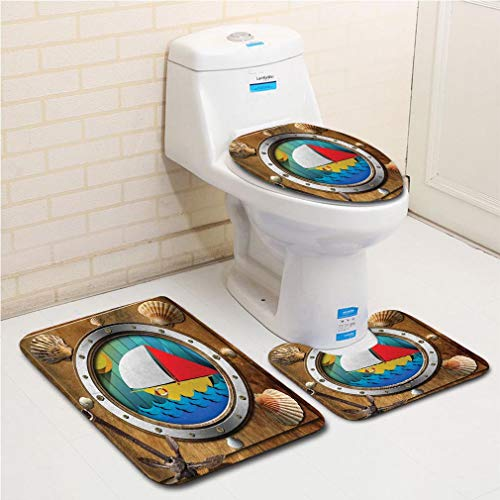 Family bathroom set of 3, bathroom rug + contour pad + lid toilet seat Anchor,Metallic Porthole with Bolts Seashells Rusty Anchor and Boat Journey Voyage Activity,Multicolor flannel carpet