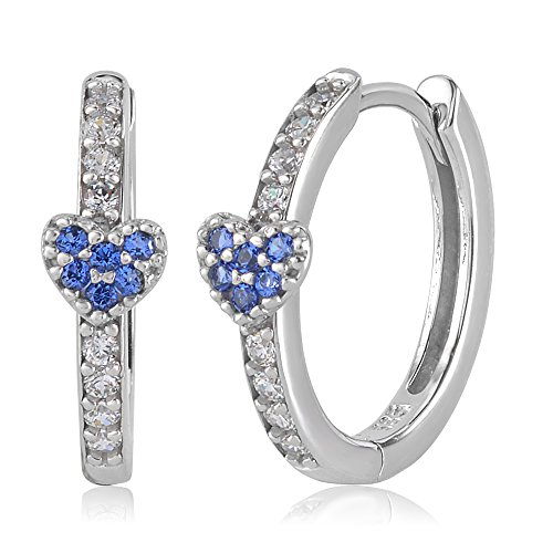 UNICORNJ Childrens Tweens 14k White Gold Cubic Zirconia Blue Heart Hoop Huggie Earrings 14.5mm Diameter by Unicornj