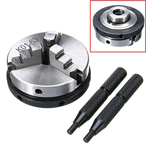 1pc K01-63 63mm 3 Jaw Metal Lathe Chuck 2.5'' M14 Mini Metalworking Machine Accessories Tool with 2pcs Rods by Jwn