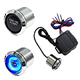 iJDMTOY Blue LED Background Light Engine Ignition Push Start Button Starter Kit