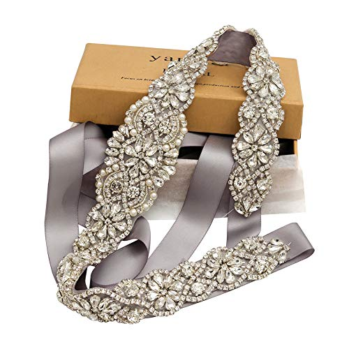 Bridal Rhinestone Wedding Belts Hand Clear Crystal 22In Length For Bridal Gowns (Silver-Silver)