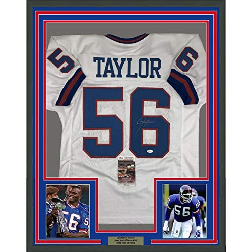 Framed Autographed/Signed Lawrence Taylor 33x42 New York White Football Jersey JSA COA