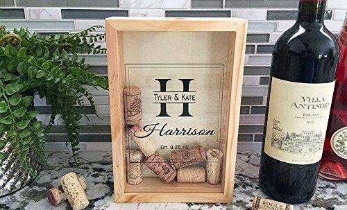 Wine Cork Keepsake (Qualtry Personalized Wine Cork Shadow Box Display - Wall Mounted Monogram Wine Cork Holder for Wedding (9