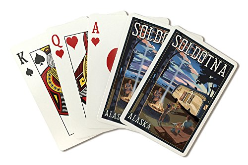 Soldotna, Alaska - Retro Camper and Lake (Playing Card Deck - 52 Card Poker Size with Jokers) by Lantern Press