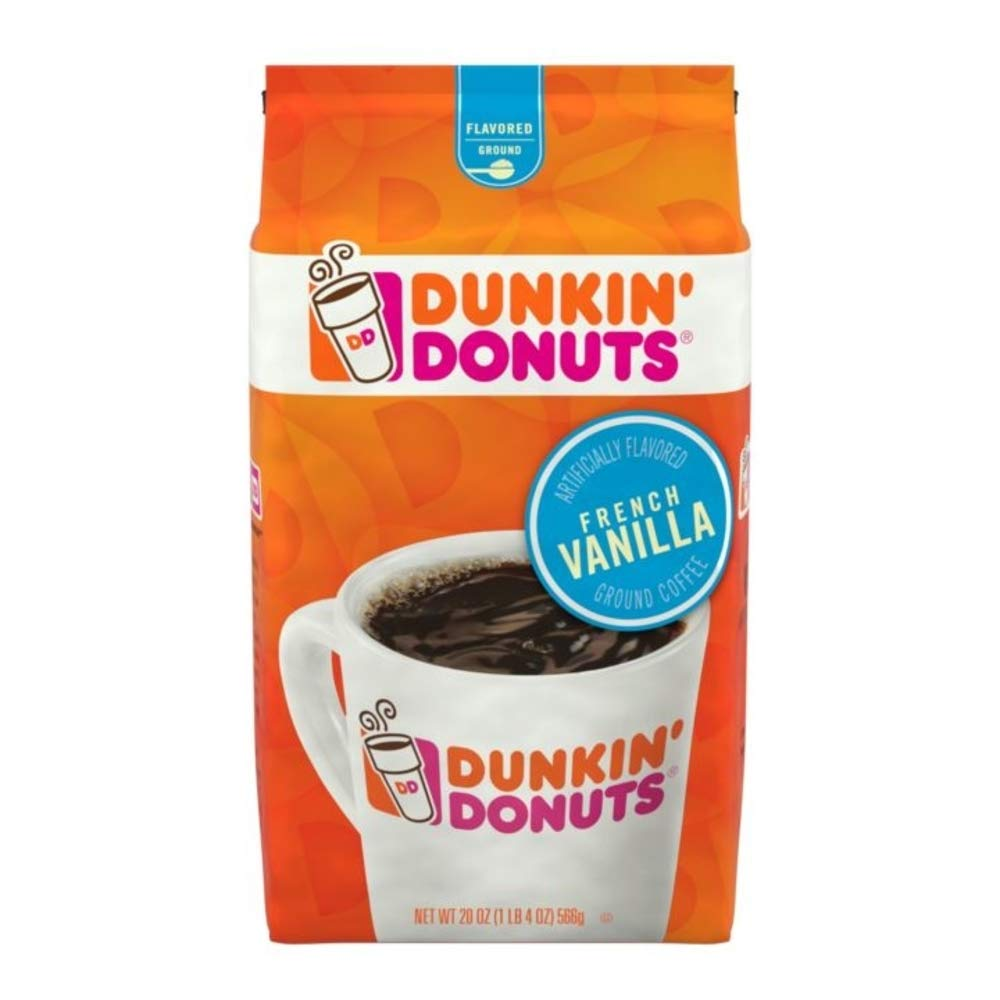 Dunkin' Donuts French Vanilla Flavored Ground Coffee, 20 Ounce, 6 Count