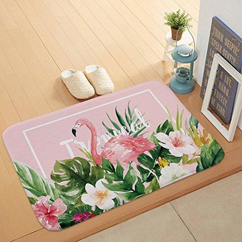 Morbuy Bathroom Rugs Flamingo, 40x60cm Non-slip Flannel Bath Mat Bathroom Carpet Super Absorbent Soft Shower Suitable for Living Room/Kitchen/Bedroom Indoor Outdoor (Flower (Market Place Hand Woven Rug)