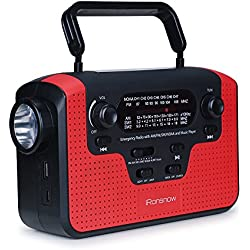 Real NOAA Alert Weather Radio with Alarm, iRonsnow IS-388 Solar Hand Crank Emergency AM/FM/SW/WB Radio, TF Card Speaker, LED Flashlight & Reading Camping Lamp, 2300mAh Cell Phone Charger