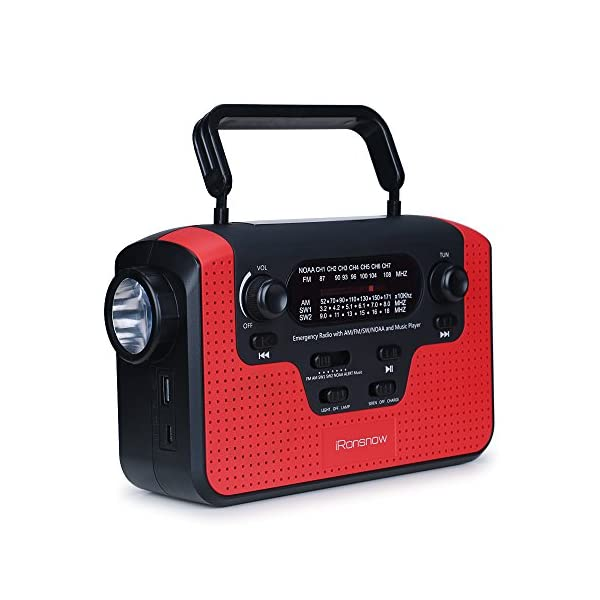 iRonsnow IS-388 Solar Hand Crank TF /& Real NOAA Alert Weather Radio with Alarm
