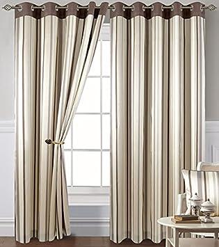 Coffee Stripe Eyelet Curtains 90 X