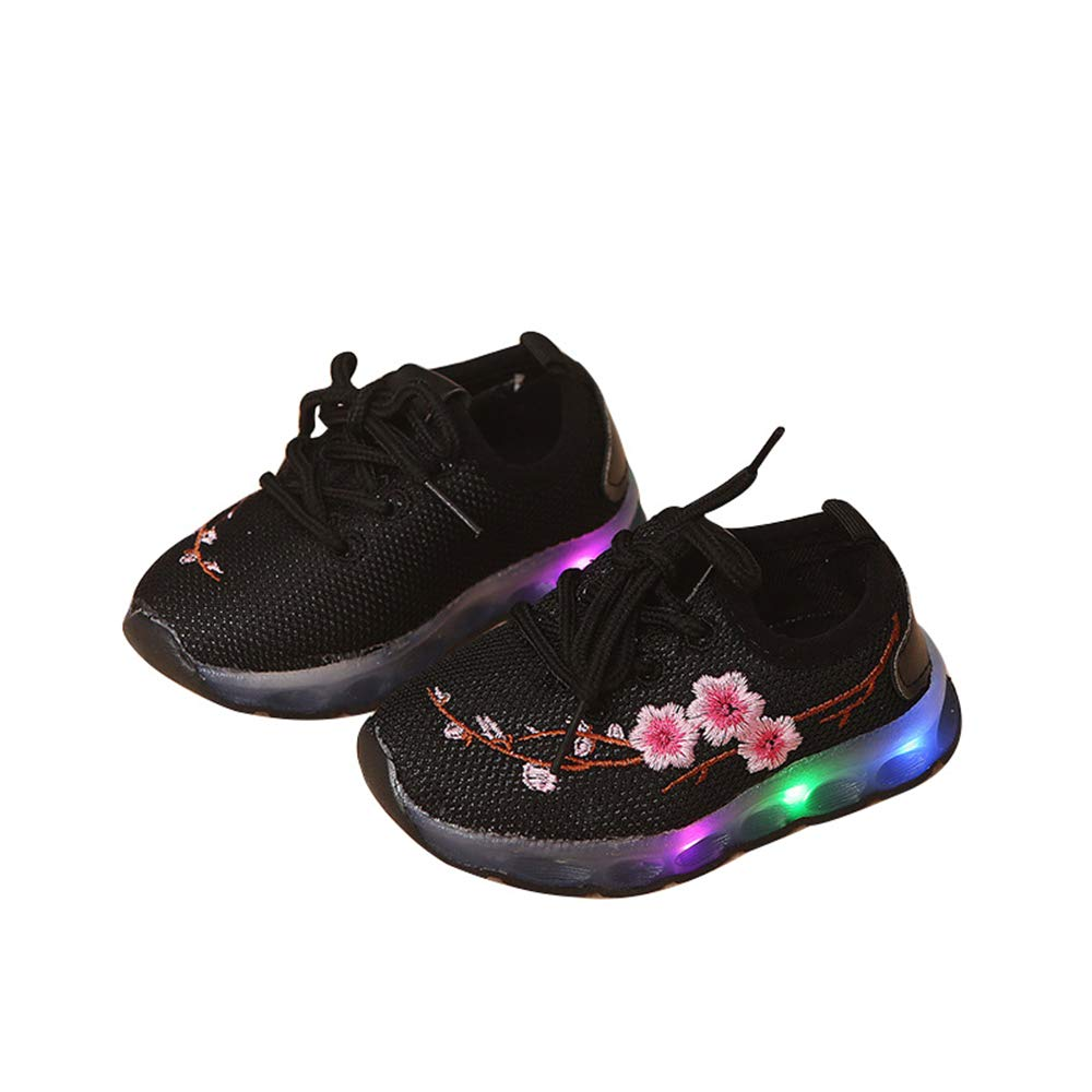 Casual Toddler Sport Running Baby Shoes Boys Girls LED Luminous Sneakers with Plum Printing