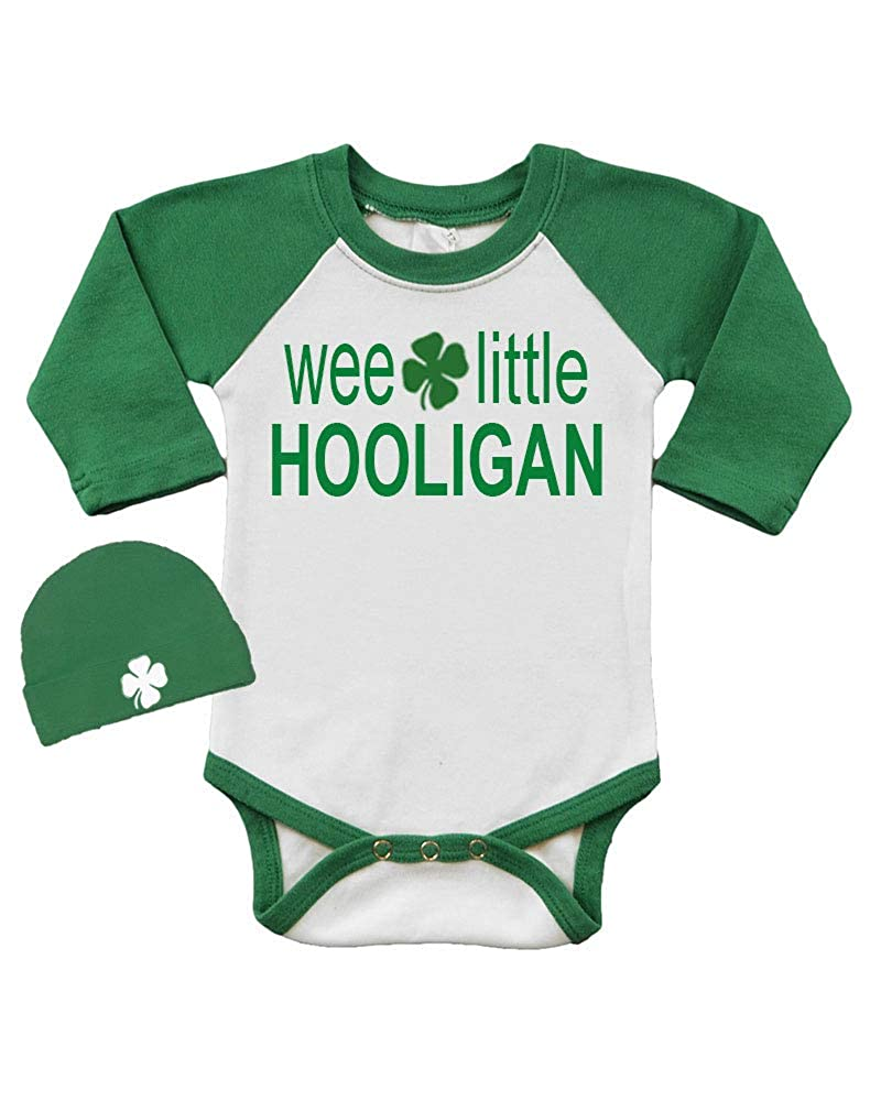 93301d6be7 Amazon.com  St. Patrick s Day Long Sleeve Raglan Bodysuit and Cap Set-Wee  Little Hooligan  Clothing