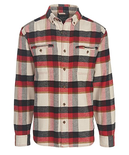 Pass Plaid Shirt (Woolrich Men's Oxbow Pass Plaid Flannel Shirt - 100% Organic Cotton, STONE HERRINGBONE (Gray), Size L)