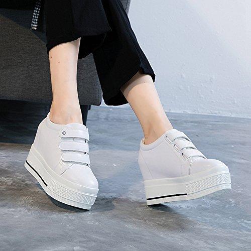 GIY Booties Heel Rhinestone High Height Sneakers Hidden 1 Cz Top White Women Toe Round Wedge Platform Increased 6PxRqr6OEw