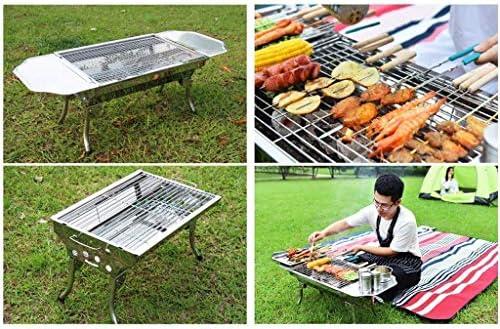 Extérieur Barbecue au charbon Barbecue, Bureau pliant en acier inoxydable BBQ Grill/pliant les jambes et Carry barbecue 3-5 personnes fête en plein air réunion de famille/DYWFN