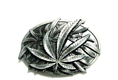 3D Gun Metal Marijuana Leaf Belt Buckle BU259