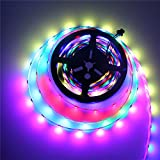 ALITOVE WS2812B Individually Addressable LED Strip 16.4ft 150 SMD 5050 RGB LED Pixel Flexible Light Non-waterproof Black PCB