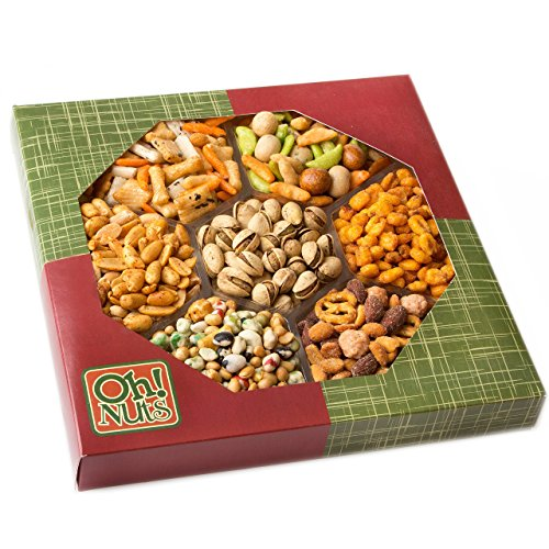 Exotic Snacks Party Food Gift Tray, Holiday or Family Game Night Basket, Spicy & Hot Cajun Flavors a Unique Snack Mix - Great for Valentines Day Gift Baskets - Oh! Nuts