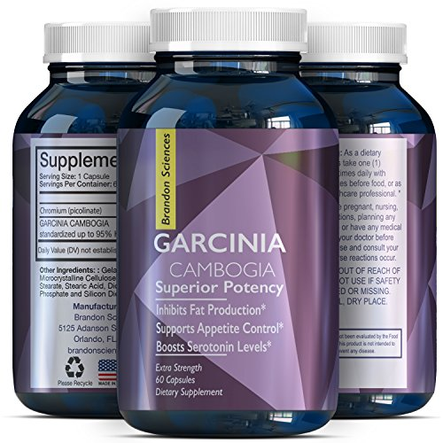 Garcinia Cambogia Extract Pure 95% -Potent Supplement For Men & Women -Boost Energy And Focus -Weight Loss Pills -Burn Belly Fat+Suppress Appetite -Garcinia Cambogia Supplement By Brandon Sciences