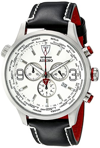 DETOMASO Men's DT1061-I AURINO XXL Chronograph Trend weiss/schwarz Analog Display Swiss Quartz Black Watch